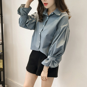 In the spring of 2017 Korean new large size cotton shirt jacket lapel loose woman all-match long sleeved shirt backing tide