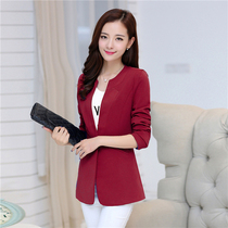 Small suit female coat long 2017 new spring loaded in Korean version of the slim long sleeve coat plus size leisure suit