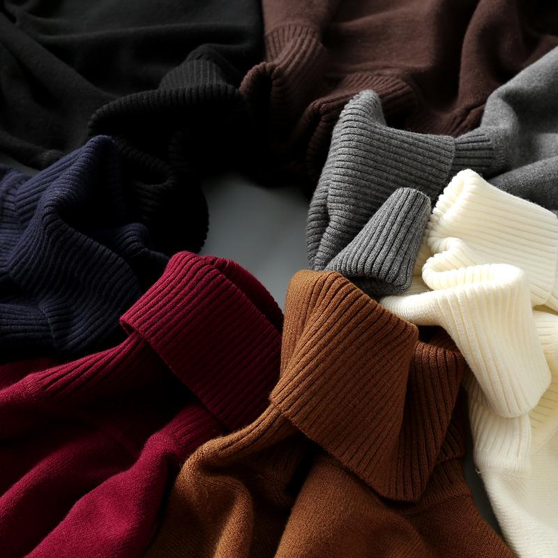 男士高领毛衣冬季毛衫加绒加厚针织衫韩版修身潮流白色黑色打底衫