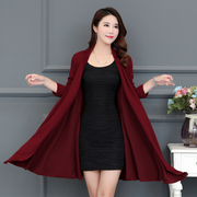 Autumn female coat long middle and old aged women's Cardigan covered coat Cape mother dress Burgundy long sleeve