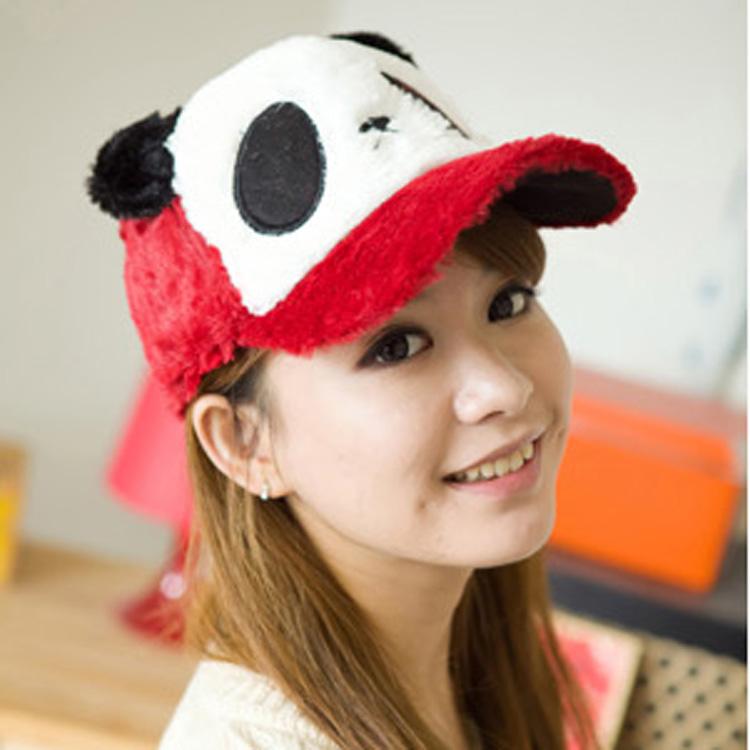 秋冬季冬天韩版潮熊猫毛绒棒球帽毛呢帽子保暖卡通可爱男女士成人