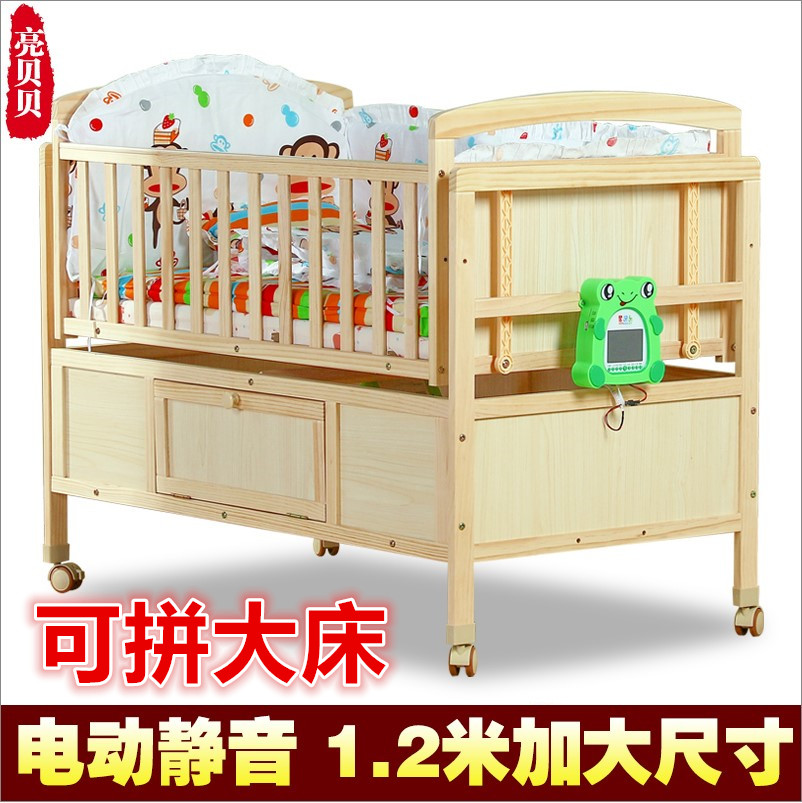 1 meters 2 pine wood crib electric automatic cradle baby crib cradle rocking bed nets intelligent roller