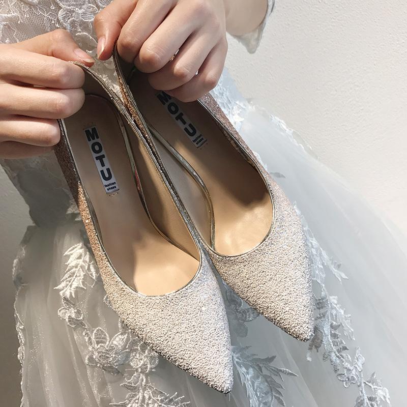 婚鞋女2017新款渐变银色水晶高跟鞋亮片细跟拍婚纱照伴娘新娘鞋子