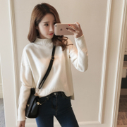 2017 new winter downneck female Korean students head long sleeved knit loose shirt all-match thickening