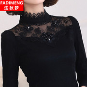 Long sleeved lace shirt female 2017 new women's autumn and winter Korean tide plus velvet warm coat thick bottoming shirt