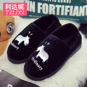 Winter couple cotton slippers handbags with indoor warm non-slip cute home home month hair plush slippers male winter