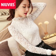 2017 new winter Korean women's long sleeved white lace shirt code all-match turtleneck jacket tide