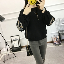 Embroidery collar Pullover female 2017 autumn ladies short sweater loose all-match jackets.