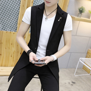 Autumn suit vest sleeveless vest for men than in the long trend of Korean cultivating leisure suit jacket