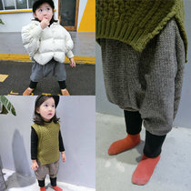 Thickened small girls harem pants big pp pants 2016 feet of new childrens Korean version of the furry crotch trousers for fall winter tide