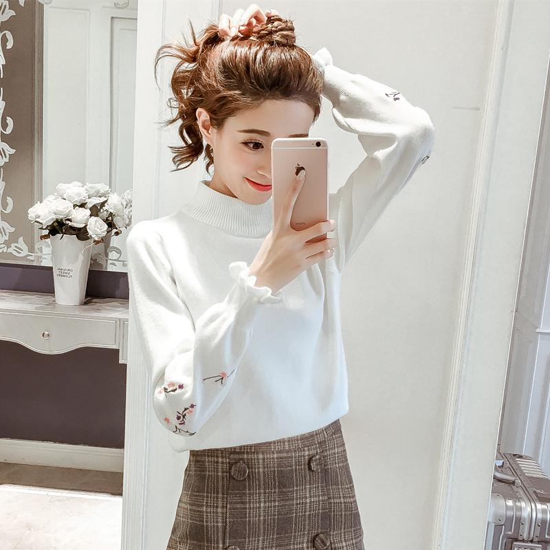 秋冬季新款针织衫女2017韩版绣花半高领长袖打底衫荷叶袖加厚毛衣