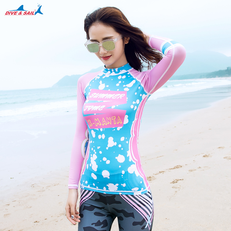 2017 female new split diving suit sun-fast dry self-long sleeve swimsuit jellyfish clothing surfing diving suit