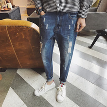 2017 youth fall ripped jeans straight in autumn and winter men's casual pants men's fashion washing