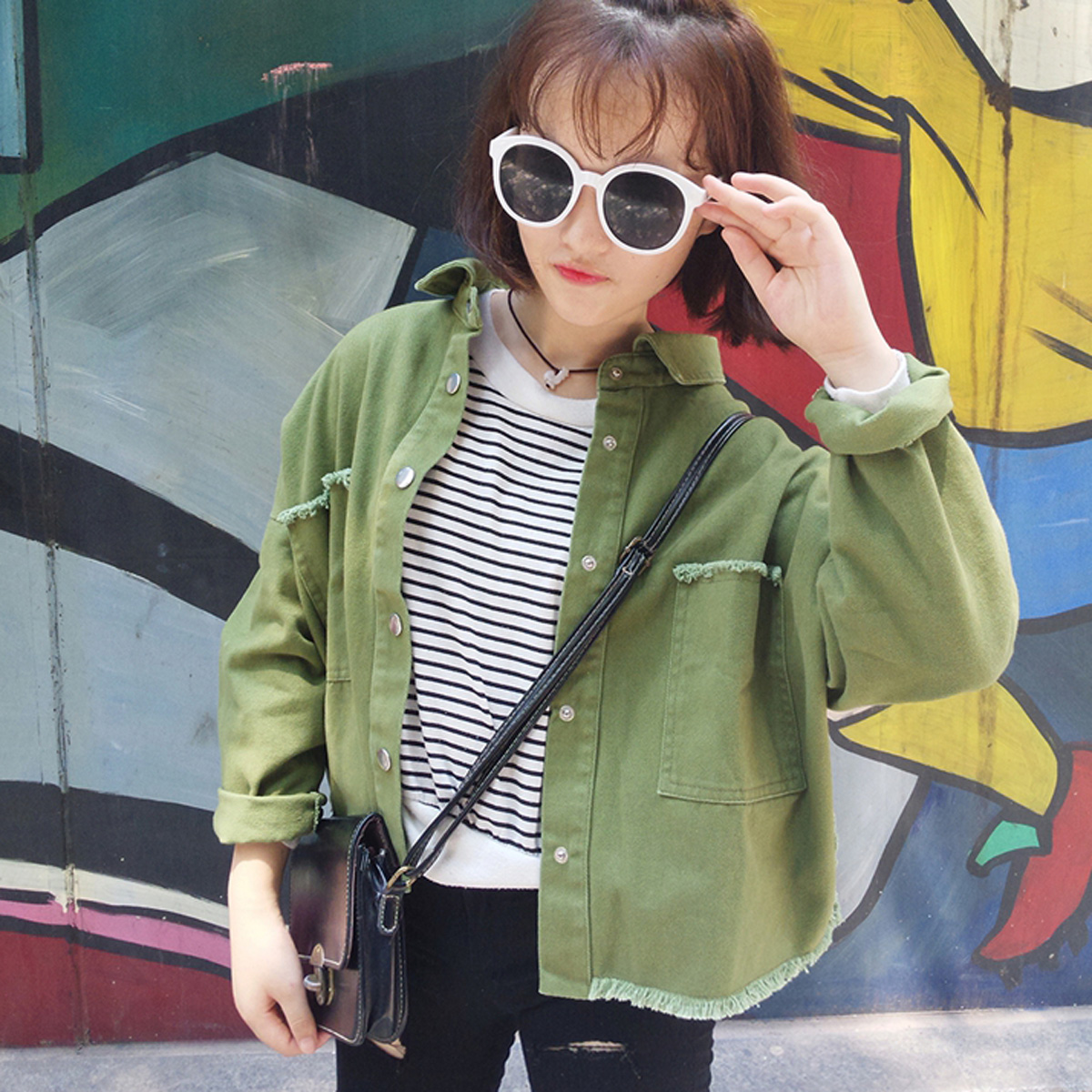 2017 spring and Autumn New Korean college style casual female students all-match coat sanding BF long sleeved jacket