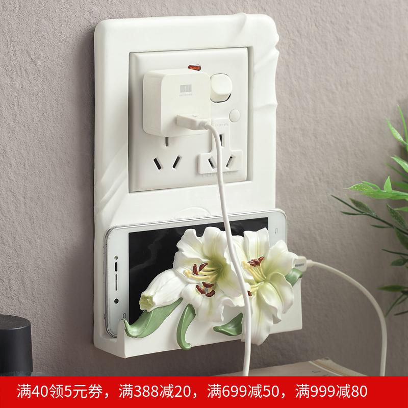 包邮欧式雕刻花卉开关贴创意墙面开关套插座墙贴手机座家居装饰