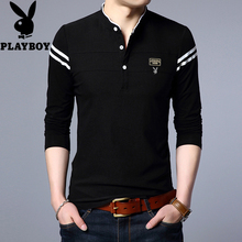 The young men's cotton long sleeved T-shirt dandy spring collar Korean fashion slim color T-shirt