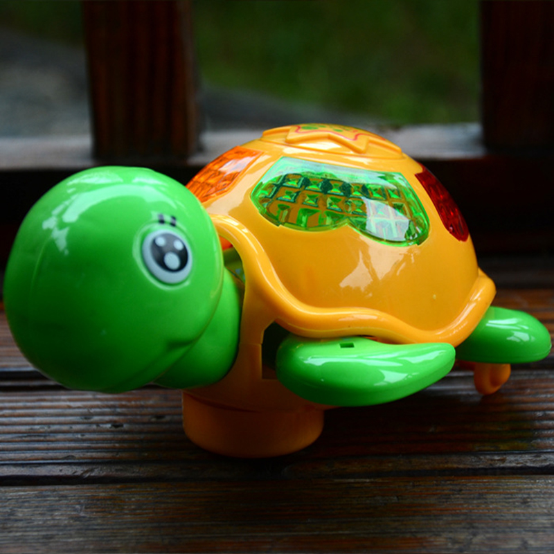 仿真电动万向爬行小乌龟带炫彩灯光、音乐 儿童玩具生日礼物包邮