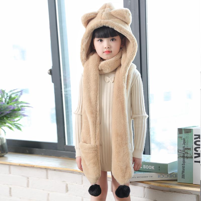 儿童帽子围巾手套三件套秋球球冬款男童女童宝宝卡通保暖一体套装