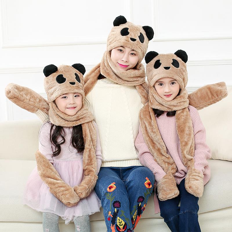 保暖帽子围巾手套三件套一体加厚儿童男女宝宝珊瑚绒毛绒套装冬季