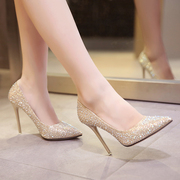 2016 new winter female high-heeled shoes with a fine pointed golden wedding shoes crystal evening dress shoes silver bride shoes