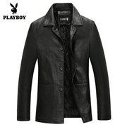 Dandy men leather quilted leather collar with male father in elderly male coat jacket thickening