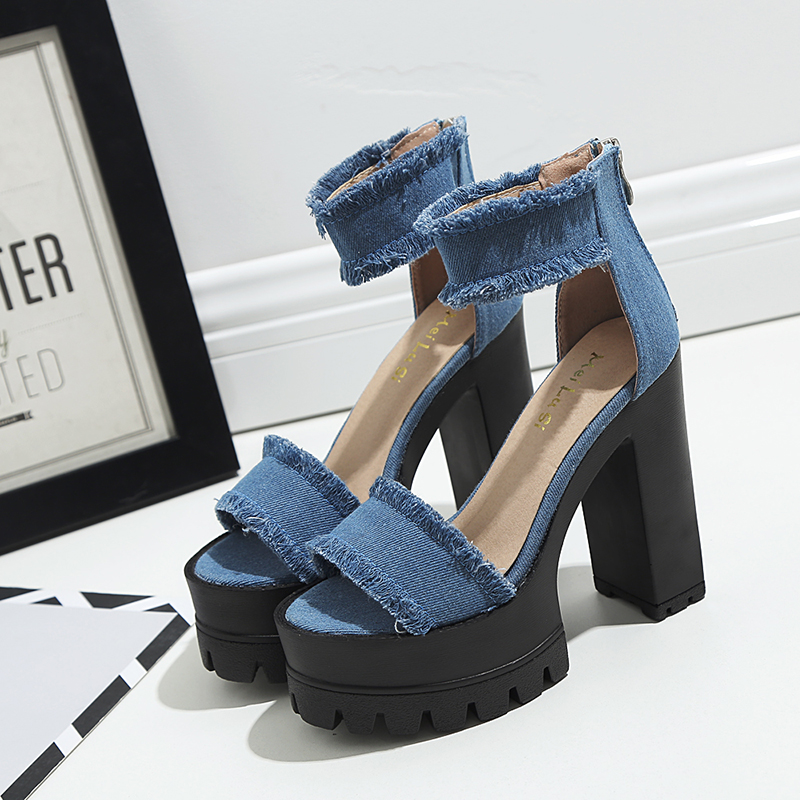 Sponge dance runway 13 cm thick with fish mouth new spring/summer 2017 hate day high heel sandals denim lace