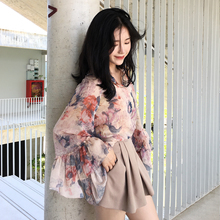 ◆ ASM ◆ 2018 summer new style trumpet sleeves long sleeves ultra-sen soft light breathable printed chiffon shirt female