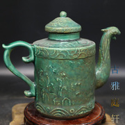 Song Fengtou carved antique vintage antique teapot lines ornaments of home furnishings Handmade