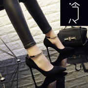 A buckle shoes fall 2017 New Black Suede high-heeled shoes female occupation club all-match stiletto shoes