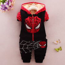 2017 new childrens wear 0-4 old baby boys winter padded coat 3 infant boys and velvet Spider-man suit the tide