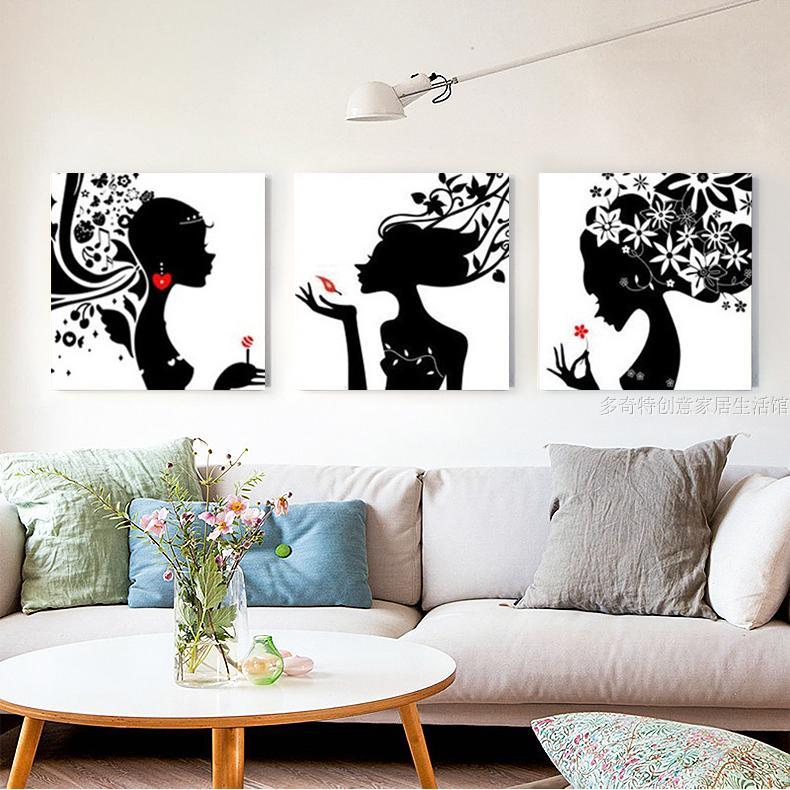 印花十字绣印象女孩三联画线绣客厅新款卧室大幅简单可爱卡通美女