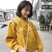 South Korea ulzzang spring BF bat sleeve loose sleeve head embroidery thin sweater coat female Korean students tide