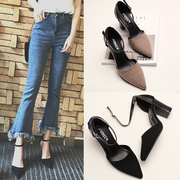 2017 spring shoes with a rough documentary buckle pointed a small Korean all-match high heels shoes hollow code