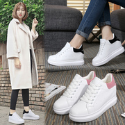 The increase in women's all-match spring white shoe female leisure sport shoes muffin thick bottom slope with 8cm.