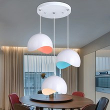Restaurant chandelier lamp LED three creative modern minimalist chandelier pendant lamp head lamp round bar individual dining room