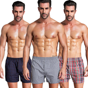 Our pants men's cotton loose boxer underwear tide youth summer home four angle lattice code breathable pants