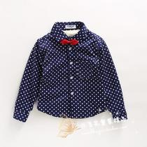 Autumn winter 2016 boys full of printed dots gentleman bow tie corduroy and wool-shirt shirt jacket