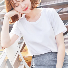 White T-shirt female short-sleeved 2018 new summer loose solid color compassionate cotton on the clothes half-sleeved short paragraph simple