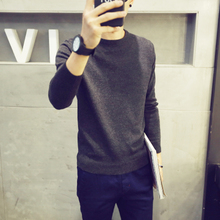 Men's T-shirt sweater sweater trend of Korean character long sleeved sweater cashmere sweater slim with thickened type all-match