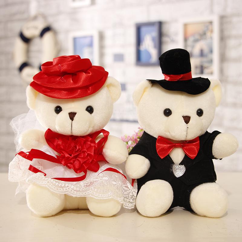 婚车熊公仔车头装饰情侣婚纱熊一对婚庆娃娃花车小熊结婚礼物