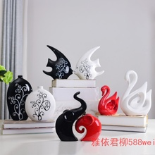 A pair of white elephant ceramic ornaments lucky auspicious feng shui as creative Home Furnishing office furnishings decorations