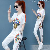 d2eac4f5532a Sports suit female summer 2018 new Korean version of the summer casual clothes  fashion short-