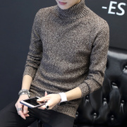 Winter turtleneck sweater Men Korean trend of personality knitwear Slim plus velvet loose sweater shirt shirt