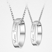 The necklace can lettering love couple ring S925 pure silver ornaments Men's and women's length pendant send girlfriends