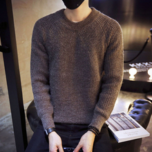Black men sweater sweater T-shirt personality trend of Korean winter shirt slim type all-match sweater