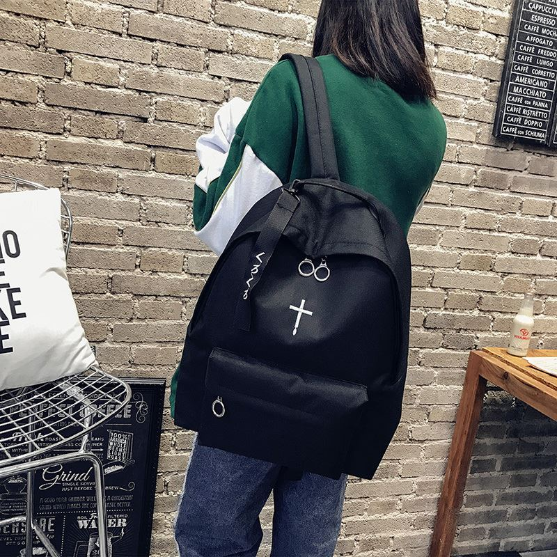 Men and women backpack bag, Japan and South Korea version of high school students in junior high school students harajuku pure color canvas bag leisure travel bag