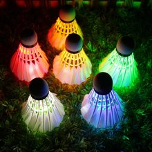 On the new 10 loaded with LED night light with light shiny badminton night entertainment discoloration goose feather
