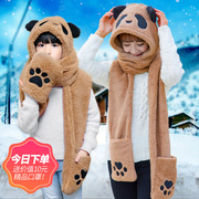 Children with cute pandas winter winter warm cashmere thickened female Collar Scarf Hat Gloves three piece thickening