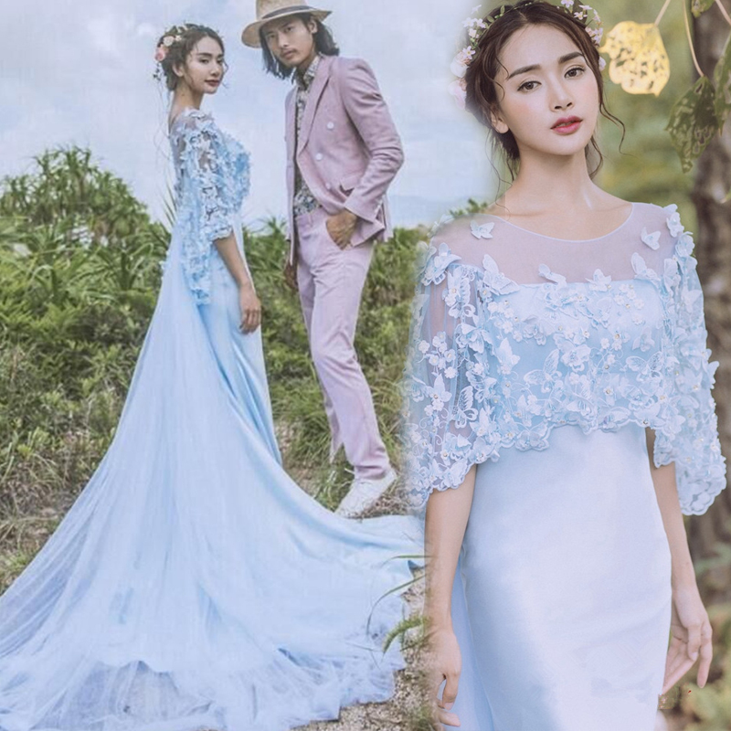 Exhibition, new photo studio, theme wedding, lovers photography, outdoor travel, blue butterfly dress, girl photo dress