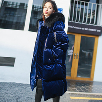 Korean version of the new genuine increase knee gold velvet fur collar down jacket female thick long loose jackets in tides